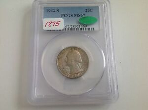 1942 S USA Quarter PCGS MS 67