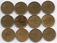 LOT DE 12 Pièces de 50 francs GUIRAUD 1952 de qualité