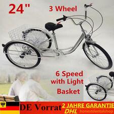 "Neuf Trike Adulte 6 vitesses 24"" Tricycle Bicycle de vélo+panier+lampe Silver EU"