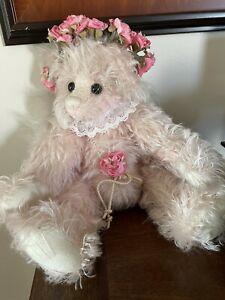 "Annette Funicello Collectible Bear 13"" Pink Mohair White Wings Angel Bear #3"