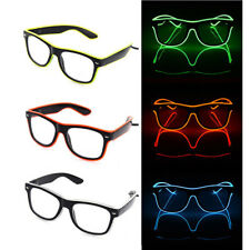 Hot Party LED EL Wire Glasses Light Up Glow Glasses Eyewear Shades Nightclub Lot