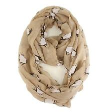 Light Soft Cute Cute Fun Penguin Print Circle Loop Wide Infinity Scarf Beige