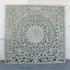 MADE TO ORDER Dynasty Hand Carved Indian Wooden Carved Panel Bedhead Board Grey