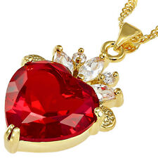 "FREE SHIP Red Cubic Zirconia CZ Gold Plated Heart Pendant 18"" Chain TOP QUALITY"