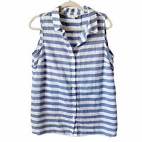 Beach Lunch Lounge Womens Blue and White Striped Collared Button Down Top Large