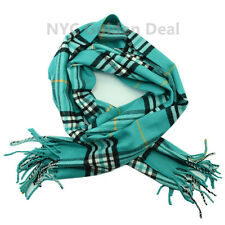 Men's 100% CASHMERE Scarf TEAL Checked Plaid Design Soft  MADE IN SCOTLAND