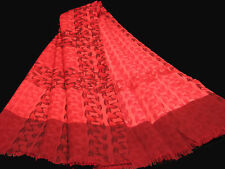"""Women's Wool Scarf / Pink / Print / 42"""" X 42"""" / with fringe"""