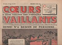 COEURS VAILLANTS 1940. n°14 du 7 avril 1940. Tintin en Syldavie