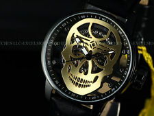 New Invicta Men 48mm Golden Skull TY2807 Mechanical S1 Rally Black IP SS Watch