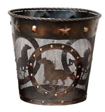 Rustic Running Horses Waste Basket - Trash Can, Copper Finish, Wire, Mesh Design