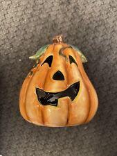 Fitz And Floyd Halloween Bunny Blooms Pumpkin Decoration. H1