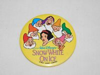 "VINTAGE 3"" WALT DISNEY'S SNOW WHITE ON ICE METAL SOUVENIR PINBACK BUTTON"
