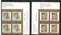 Canada SC # 1310-1516-1545 Masterpieces Of canadian Art . Block Of 4. MNH. 1