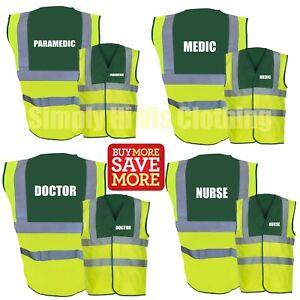 Paramedic Nurse Medic Printed Two Tone Hi Vis Safety Vest Hi Viz Waistcoat 1