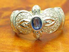14kt 585 Gelbgold Ring mit 0,40ct Diamant & 0,40ct Saphir Besatz / 5,0g / RG 55