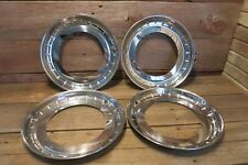"14"" Stainless Steel Chrome HOT ROD Trim Rings / Beauty Rings New SET OF 4!"