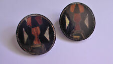 VINTAGE WOOD & SHELL MOSAIC PLASTIC BUTTON CLIP ON EARRINGS