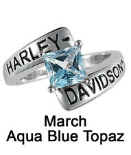 Harley-Davidson® March Birthstone Ring - Aqua Blue Topaz - size 7  D4J8799