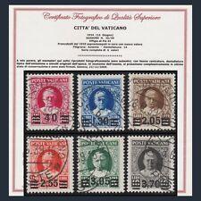 Città del Vaticano 1934 Serie Provvisoria n 35/40 Certificato Francobolli Usati