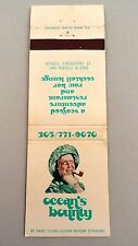 Matchbook Cover ~ OCEAN'S BOUNTY Seafood & Raw Bar Ft. Lauderdale FL Rear Str 20
