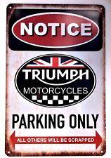 TRIUMPH MOTORCYCLE RETRO METAL TIN SIGNS vintage cafe pub bar garage shop bike
