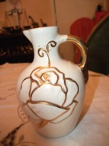 Pretty White Creamer with Gold Rose -Gold Handle -Gold Spout - Possibly Vintage