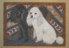Liz / S. Roberts Black and White Poodles Dogs Handpainted Needlepoint Canvas