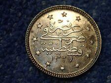 OTTOMAN TURKEY: RARE UNCIRCULATED SILVER 2 KURUSH 1327-2 (1910)  (MOHAMMED V)