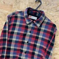 LEVI'S RED TAB SLIM FIT CHECK LONG SLEEVE SHIRT JACKET FLEECE LINED SIZE SMALL S