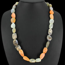 AAA 440.00 CTS NATURAL SINGLE STARND MOONSTONE FACETED SHAPE BEADS NECKLACE