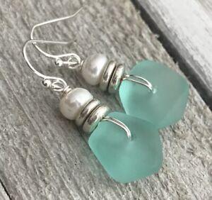 Min Favorit Turquoise Bay Sea Glass, Freshwater Pearl & Silver Pl Drop Earrings