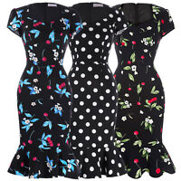 Women Mermaid 50s Vintage Retro Dress Fitted Polka Dot Wiggle Pencil Party Hot