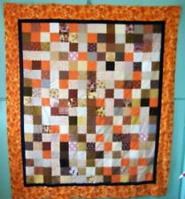 AF0114 Handmade FALL Patchwork Lap QUILT TOP about 63 x 73 Orange Yellow Brown