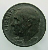 RARE 1970 Roosevelt Dime US 10 Cents Coin No Clad Both Side Green Tone Dented