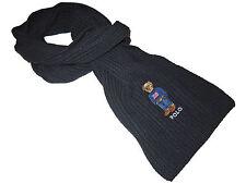 Polo Ralph Lauren Black Polo Bear USA Sweater Waffle Knit Wool Blend Neck Scarf
