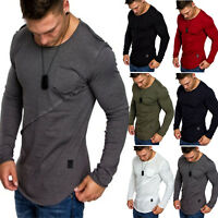 Men Plain Slim Fit O-Neck Long Sleeve Muscle Tee T-shirt Casual Tops Blouse Gym