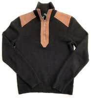Lauren Ralph Womens Small Black Sweater Brown Leather Trim 1/4 Zip      2304