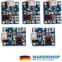 5 x TP4056 Lipo Akku Ladegerät Mini USB Lader 4-8 Volt Charger S1 Laderegler