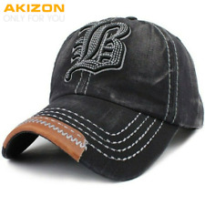 Mens Adjustable Baseball Cap Embroidery Letter B Unstructured Cotton Women Hats