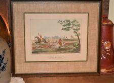 """Antique """"Stag Hunting"""" Engraved Colorized Print by Carle Vernet c:1824, 19""""x16"""""""