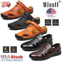 Mens Summer Leather Fisherman Casual Sandals Adjust Strap Closed Toe Sport Shoes