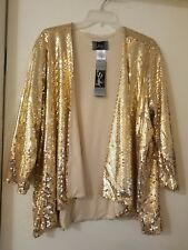 SLINKY GOLD SEQUIN 3/4 SLEEVE COCKTAIL JACKET SIZE 2X NWT