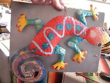 """14"""" enameled metal multicolor gecko - small paint chips / some rust"""
