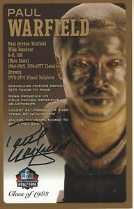 Paul Warfield Miami Dolphins  Football Hall Of Fame Autographed Bust Card