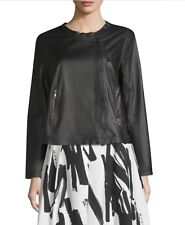 Women's Weekend Max Mara Leather Jacket size 6 black color