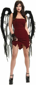 Skeleton Goth Gothic Dark Black Gauze Fallen Angel Wings Adult Costume Accessory