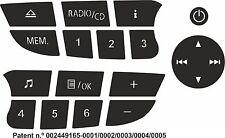 Pegatinas para reparar los botones Renault Clio / Megane Twingo CD Radio
