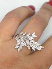 anello argento 925% anallergico rodiato foglia foglie zirconi bianchi mis 19