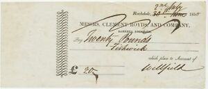 GB OLD CHECKS 1830 Messrs. Clement Royds and Company Bankers, ROCHDALE very rare