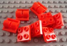LEGO Lot of 8 Red 2x2 Double Axle Hole Plates